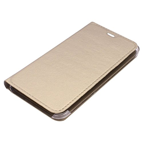 Micromax Canvas 6 Pro E484 Flip Cover, Johra Premium HD+ Tempered Glass Screen Combo Gold Golden Leather Flip Case Cover for Canvas 6 Pro E484 Tempered Glass