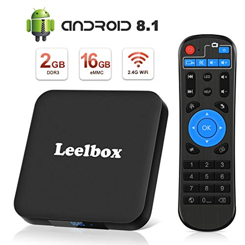 Android 8.1 TV Box, Leelbox Smart TV Box Quad Core 2GB RAM+16GB ROM, 4K*2K UHD H.265, HDMI, USB*2, WiFi Media Player, Android Set-Top Box
