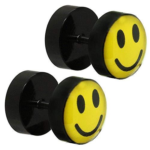 tumundo 10mm Fakeplugs Finto Plug Fake Tunnel Piercing Orecchini Nero Giallo Smiley Acciaio Acrilico Orecchino Studs