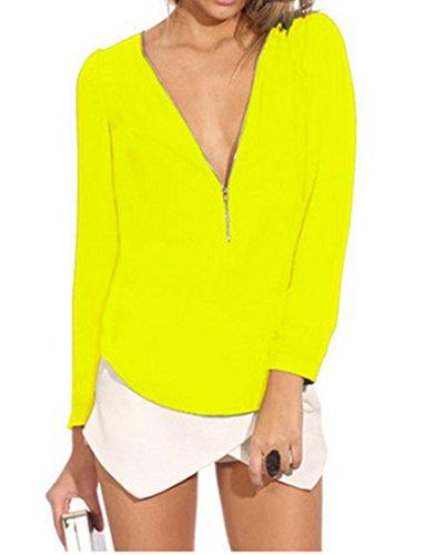 Col V En Vrac Longue En Mousseline De Soie A Manches Occasionnels T-Shirt Mince Mode De Femmes En Tete De Blouse Jaune