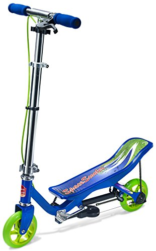 Space Scooter X360 Blau Junior Push Board Pump Action Kinderroller mit Handbremse & Compact Faltbar.