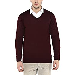 Louis Philippe Mens Cotton Sweater (LPSW517M01579_Black Solid_Large)