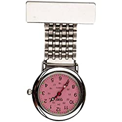 Censi Traditional Silver Nurse Fob Watch with Pink Dial Unisex Doctor Paramedic