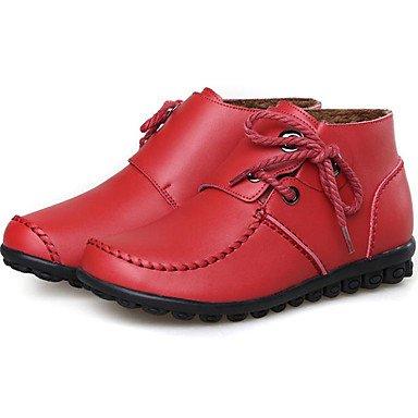 Rtry Femmes Chaussures Gland En Cuir Automne Hiver Bottes De Neige Bottes De Mode Bottes Bootie Talon Plat Bottines / Bottines À Lacets Pour Extérieur Décontracté Us4-4.5 / Eu34 / Uk2-2.5 / Cn33