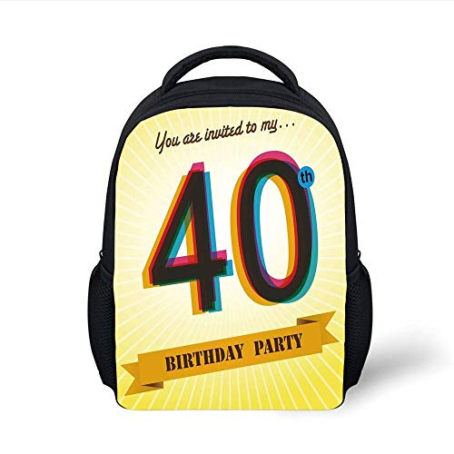 Kids School Backpack 40th Birthday Decorations,Vintage Graphic Banner Party Invitation Theme Optical Striped,Multicolor Plain Bookbag Travel Daypack (Party Vintage-40th Birthday)