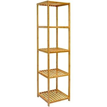 dunedesign XL Bambus Holz Regal 162,5 x 38 x 39,5 cm 5 Fächer Stand ...