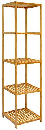 dunedesign XL Bambus Holz Regal 162,5 x 38 x 39,5 cm 5 Fächer Stand-Regal Badezimmer Ablage Küchen Aufbewahrung Badregal
