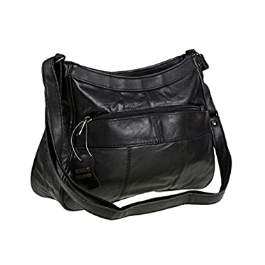 Italian Leather Ladies Handbag Black Soft Leather Shoulder Bag 7691