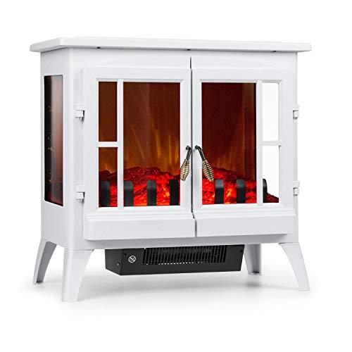 Klarstein Innsbruck Chimenea eléctrica Llama simulada - Chimenea electrónica , 1000/2000 W , para 30 m² , Termostato , Función calefactora , Calefacción atenuable , Blanco