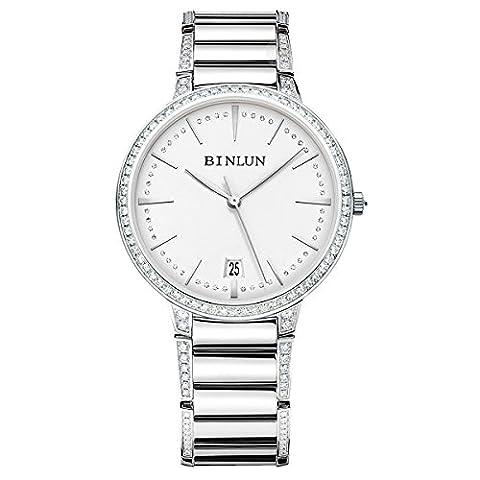 Binlun Elle et Lui Cadeau Amant montres étanche ultrafin automatique montre pour homme avec date Diamante Band