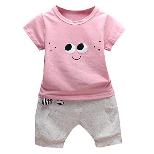 Babybekleidung,Resplend Kleinkind Kinder Baby Jungen Outfits Cartoon Augen T-Shirt Tops + Hosen Kleidung Sets Mode Lässig Kurzarm 2 Stücke Bekleidungssets (Rose, 6M)