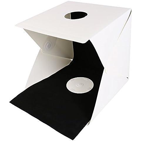40x40cm plegable difusa suave de la caja portátil de la mesa de luz mini estudio de la foto pequeña caja de disparo Fotografía de iluminación Kit Carpa Con la luz del LED Negro / fondo blanco Estudio de fotografía Accesorios para Smartphone o cámara DSLR de TLBBA