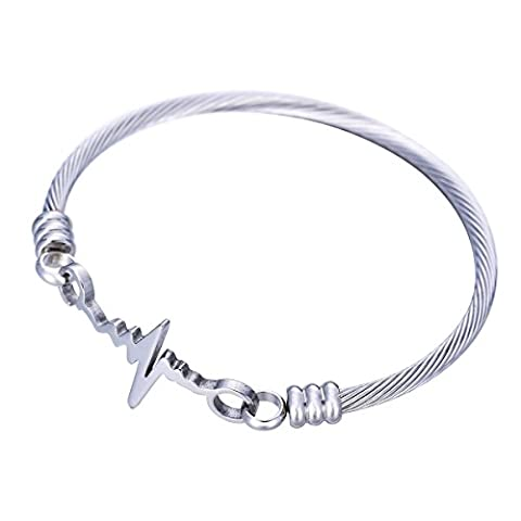 HOUSWEETY Stainless Steel Cable Wire Cuff Twisted Bangle Bracelet