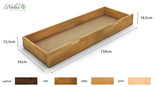 FORMULA RANGE Wooden Pine Double Size Bedframe, Underbed Storage Drawer 150cm, 2xBedside Units (4ft6in, Alder)
