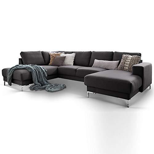Moebella Designer Wohnlandschaft Baltimore XXL U-Form Ecksofa Stoff grau anthrazit Sofa Couch mit Ottomane (Anthrazit, Spiegelverkehrt)