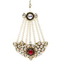 Zaveri Pearls Jhumar Passa Kundan White Pearl Jhoomar Maang Tika for Women (Multi-Colour) (ZPFK4984)