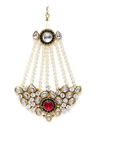 Zaveri Pearls Jhumar Passa Kundan White Pearl Jhoomar Maang Tika For Women...