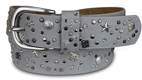 PiriModa Damen Luxus Stern Strass Nieten 4cm Breit Ledergürtel Gürtel Nietengürtel Nieten Jeansgürtel (90cm, Grau)