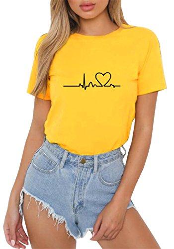 Happygo donna estate mode casual manica corta t-shirt girocollo casual sciolto funny stampa maglietta tinta unita camicie shirt top tee giallo large