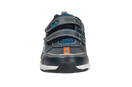 Clarks Pass Stomp Infant Boys Trainers in Navy Leather Blau