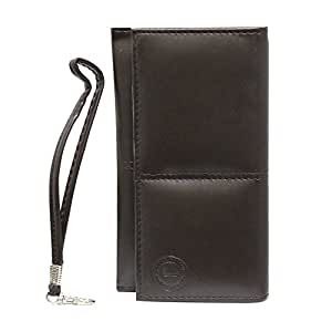 Jo Jo A5 G12 Leather Wallet Universal Pouch Cover Case For VAIO Phone (VA-10J) Brown