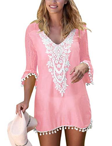 SEBOWEL Damen Strand Cover-Up Häkelspitze Strandabdeckung Pom Pom Trim Kaftans Badeanzug Bademode Bluse Strandkleid Sommerkleid, Pink, XL -