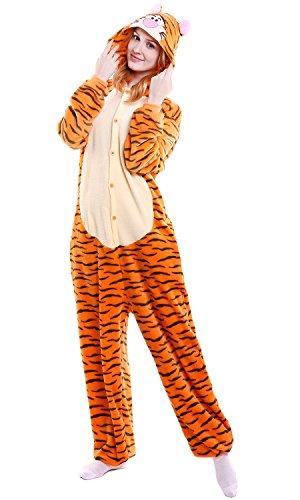 nisex Jumpsuits, Kostüm Tier Onesie Nachthemd Schlafanzug Kapuzenpullover Nachtwäsche Cosplay Kigurum Fastnachtskostuem Xmas Halloween (Large (65