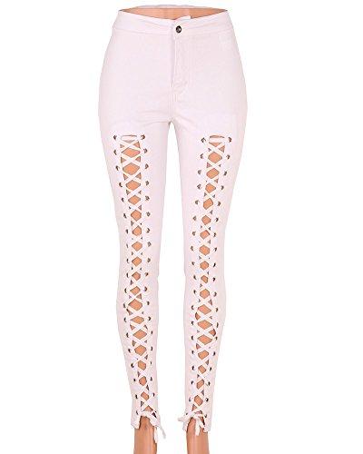 Damen Jeans Stretch Hose Bandage Röhrenjeans Jeanshose Skinny Hoch Taille Hose Weiß