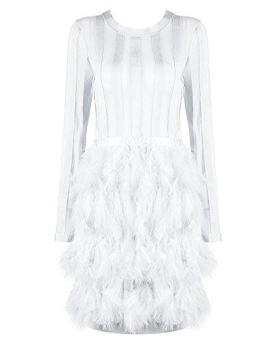 Whoinshop Damen Pullover Kleider Winter Langarm Bandage und Mesh Mode Party Minikleid mit Feder Weiß M (Kleid Federn)
