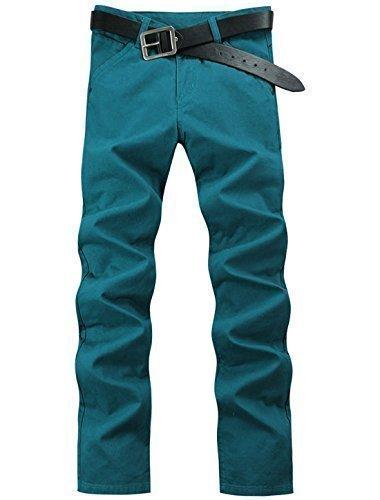 sourcingmap Uomo Medio Alta Un Pulsante Closed Patta Con Zip Pantaloni Casual - cotone, Turchese, 100% cotone, Uomo, 32W x Regular