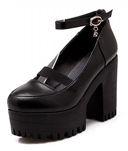 Aisun Femme Mode Talon Haut Bloc Plateforme Escarpins Noir