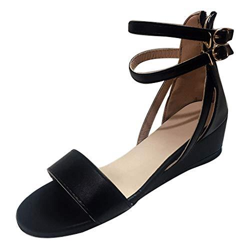 Damen Sandalen FGHYH Damen Casual Trim Wedge Zipper Buckle Knöchelriemen Open Toe Sandalen Sommerschuhe(42, Schwarz) Trim Slip-ons