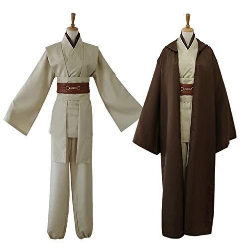 Star Wars Anakin Jedi Knight Cosplay Costume Hood Cape Anime Classic Movie for Men Women Halloween Fancy XL Brown Suit (Rob Und Big Kostüm)