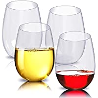 4 vasos de vino inastillables, Fuhaoo, transparentes, irrompibles, vasos de zumo de fruta, reutilizables, de plástico
