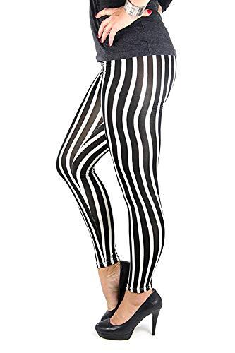 TnT-Fashion Sexy Damen Leggings Schwarz-Weiß gestreift Zebra Größe S - L