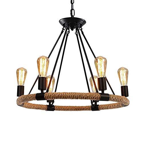 MRXUE Anhänger Licht Hanf Seil Vintage Design Loft hängende Lampe Tisch Wohnzimmer Esszimmer Tisch Halle Kronleuchter Höhe 6-Bulb E27 62 * 50CM -