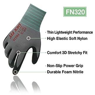 DEX FIT FN330 Guantes de trabajo, agarre de poder de la comodidad 3D, ajuste elástico fino de Nylon Spandex, Smart Touch, Espuma de nitrilo duradero, lavable a máquina