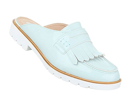 Damen Sandalen Schuhe Strandschuhe Sommerschuhe Pantoletten Slipper Hellblau
