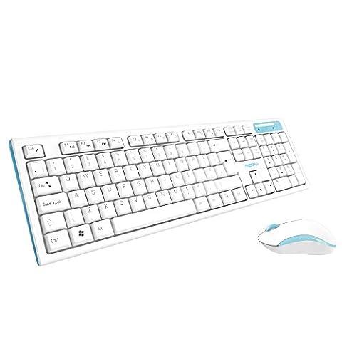 Mofii Taille complète du clavier sans fil et souris Combo, 2,4G clavier pour PC et Mac, UK Layout, Blanc et