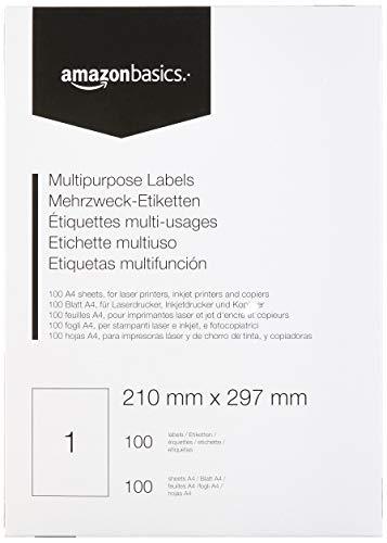 AmazonBasics - Etichette Multiuso, 210.0mm x 297.0mm, 100 fogli, 1 etichette per foglio, 100 etichette