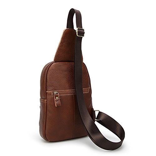 Sifini mini in vera pelle borsa a tracolla sport petto borsa multiuso Daypacks, Coffee Brown