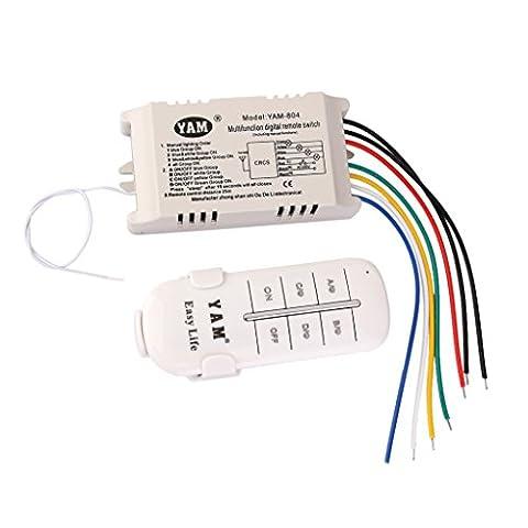 ON/OFF 4-canaux Interrupteur de Lumière sans Fil Numérique avec Télécommande 220V-240V