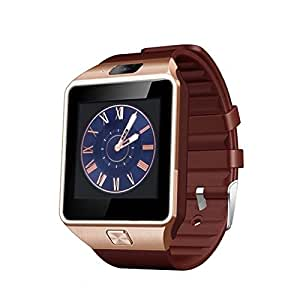 Beza LATEST Gold Brown Strap Stand-Alone Phone Watch & Works With Android & iOS Mobiles 2.0MP Camera Smartwatch - FREE GIFTS WORTH RS.2500