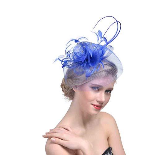 Damen Feder Mesh Net Fascinator Stirnband Aliceband Hut Hochzeitstag Rennen Royal Ascot Haarband Kopfschmuck Derby Hut