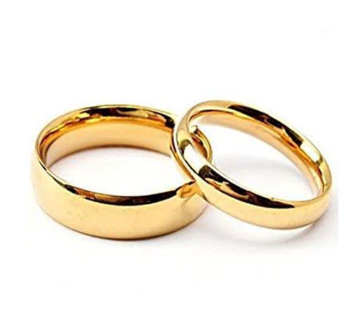 Daesar Damenring Herren Ring Edelstahl Paar Ringe Eheringe Hochglanzpoliert Breite 6/4 MM Rund Gold Verlobungsringe Trauringe Damen Gr.49 (15.6) & Herren Gr.65 (20.7)
