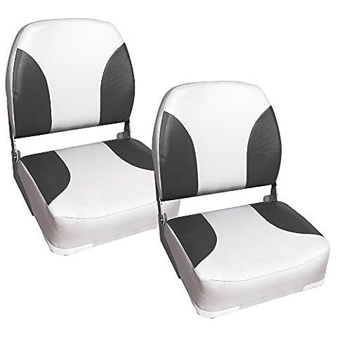 [pro.tec] 2x sièges marins (gris- blanc) en pack économique - en cuir synthétique imperméable / siège de pilotage / imperméable siège d'angle / résistant aux UV