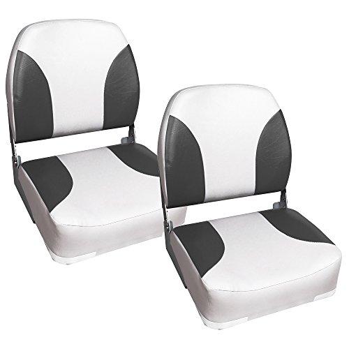 [pro.tec] 2x Bootssitz / Kapitänsstuhl aus wasserfestem Kunstleder / gepolstert / UV- beständig / klappbar (grau-weiß)