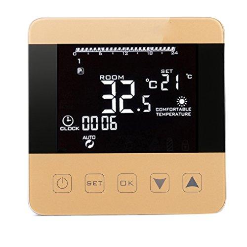 Kongnijiwa Digitales Wasser Zu Thermostat Programmierbarer Raumtemperaturregler mit LCD-Anzeige 3A Touchscreen
