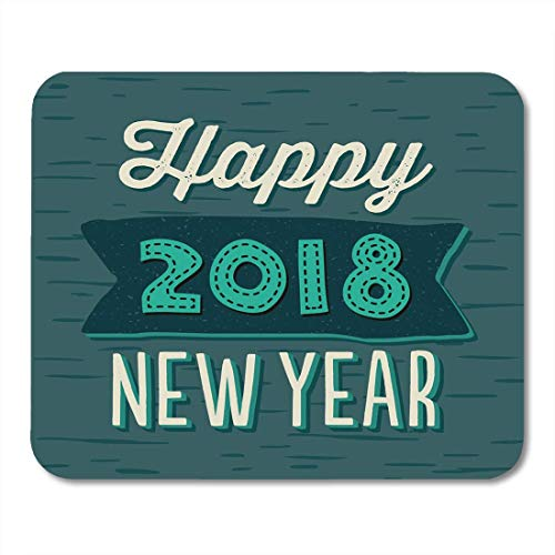 Mouse Pads Celebration Blog Happy New Year 2018 Typographic with Mint and Cream Text on Teal Green Templates Bubble Mouse Pad for notebooks,Desktop Computers mats Office Supplies