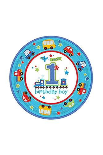 On Tour - Partyteller, 8er Pack, 23cm Durchmesser - Tischdeko zum 1. Geburtstag